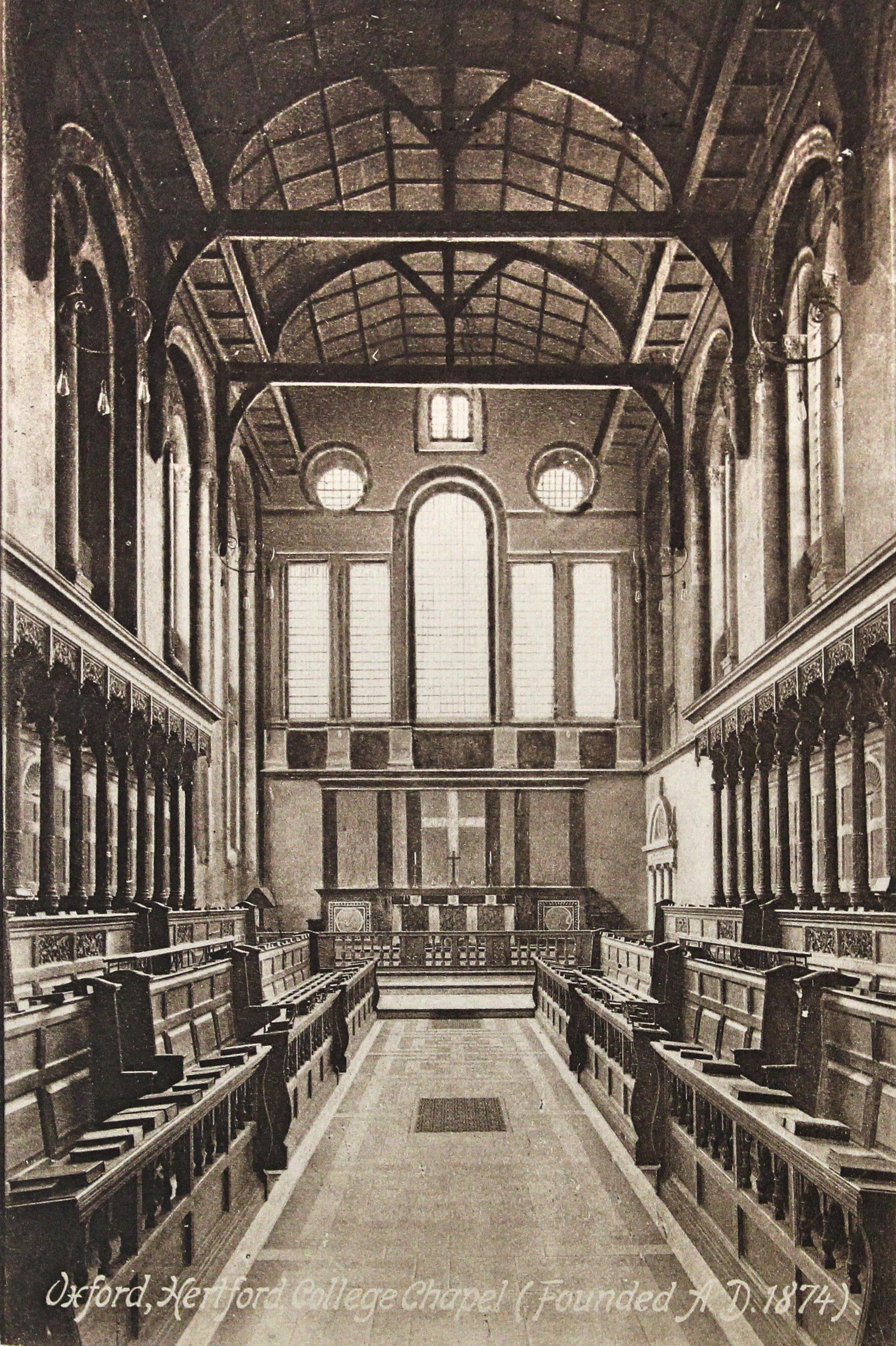 Old postcard of college chapel interior