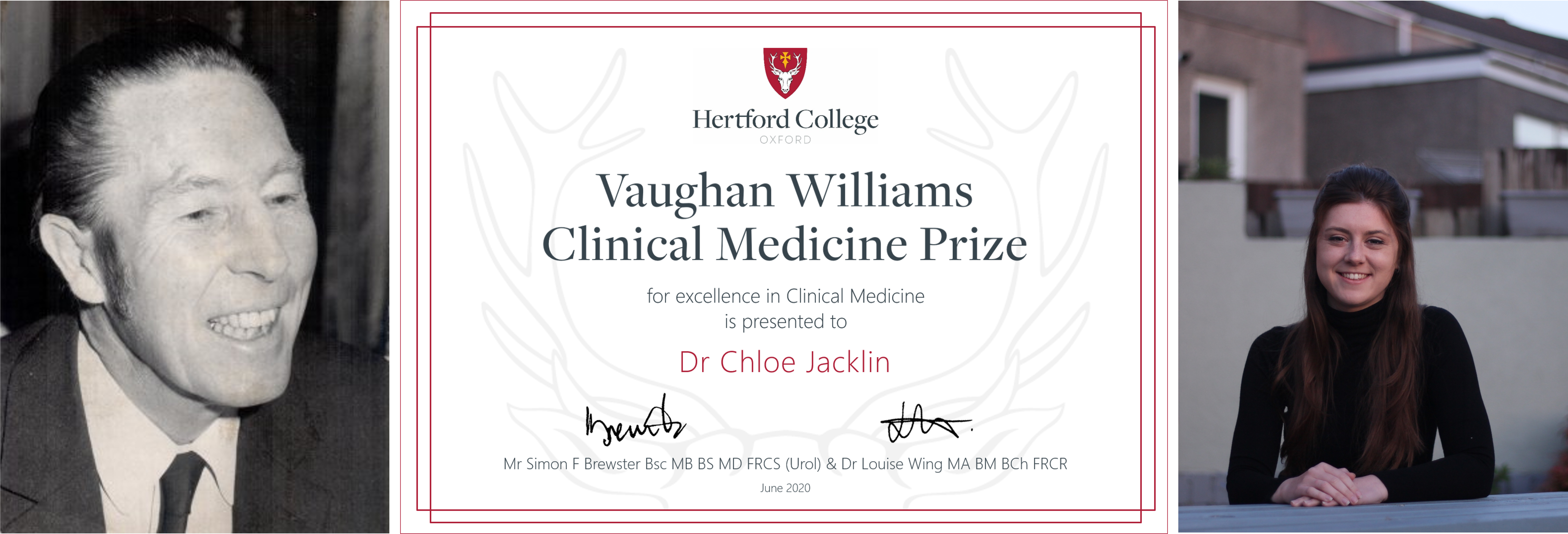 Certificate flanked by smiling photos of Miles Vaughan Williams and Chloe Jacklin