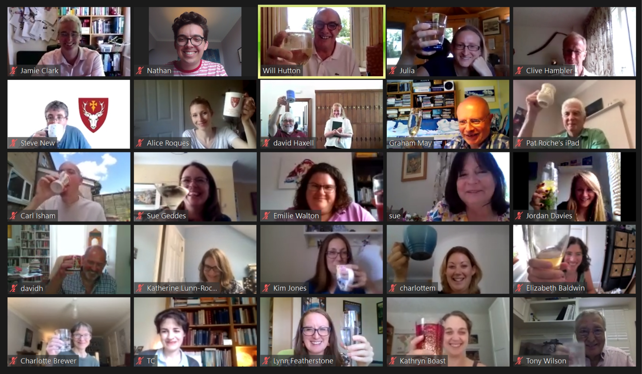 Screenshot of Zoom call with participants raising glasses
