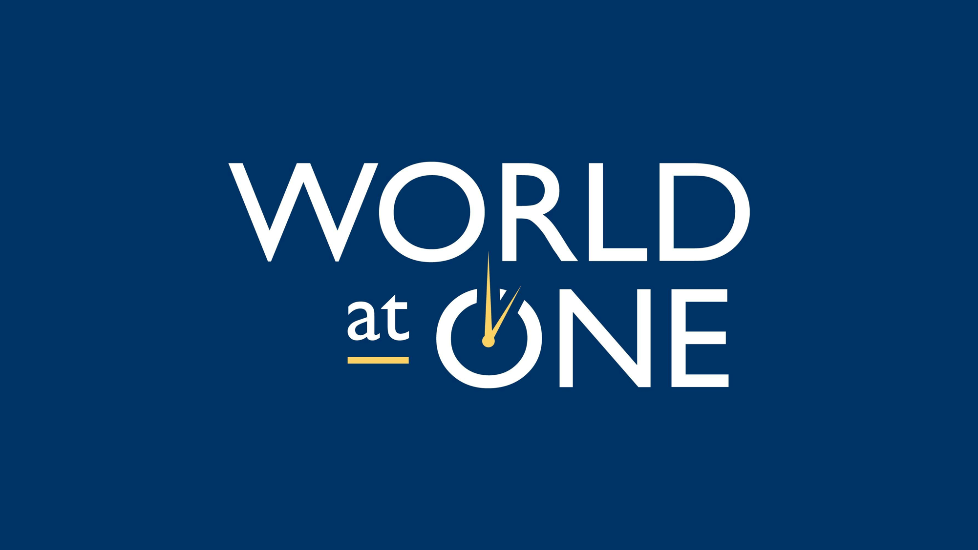 World at One logo on blue background
